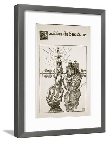 Excalibur the Sword, illustration from 'The Story of King Arthur and his Knights', 1903-Howard Pyle-Framed Art Print