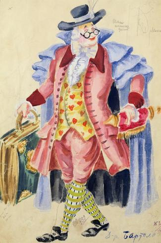 Costume Design for Mozart's 'The Marriage of Figaro', 1936-Jakov Zinovyevich Stoffer-Stretched Canvas Print