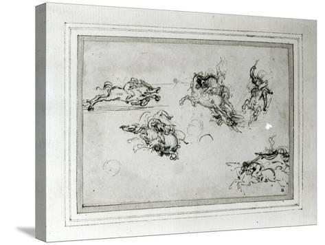 Study of Horsemen in Combat, 1503-4-Leonardo da Vinci-Stretched Canvas Print