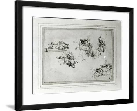 Study of Horsemen in Combat, 1503-4-Leonardo da Vinci-Framed Art Print