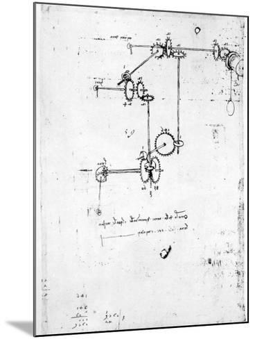 Machinery Designs-Leonardo da Vinci-Mounted Giclee Print
