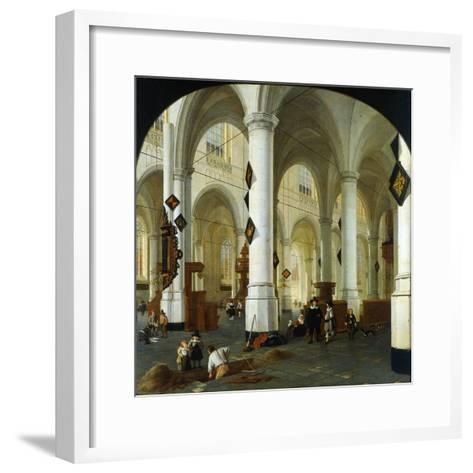 Interior of the Oude Kerk in Delft-Hendrik Cornelisz van Vliet-Framed Art Print