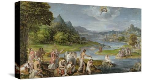 The Baptism of Christ-Lambert Sustris-Stretched Canvas Print