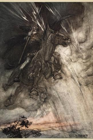 Raging, Wotan Rides to the Rock!, frontispiece from 'The Rhinegold and the Valkyrie'-Arthur Rackham-Stretched Canvas Print