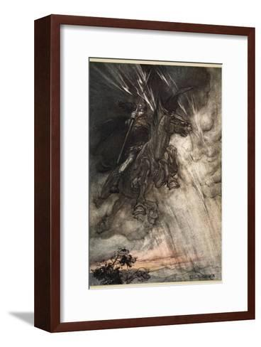 Raging, Wotan Rides to the Rock!, frontispiece from 'The Rhinegold and the Valkyrie'-Arthur Rackham-Framed Art Print