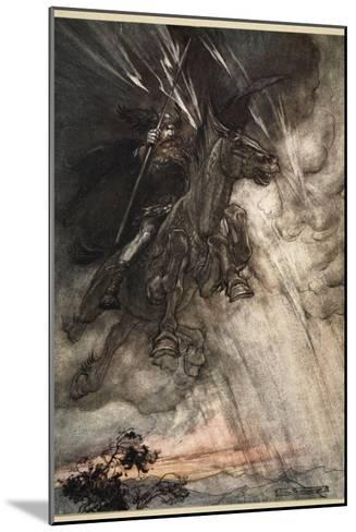 Raging, Wotan Rides to the Rock!, frontispiece from 'The Rhinegold and the Valkyrie'-Arthur Rackham-Mounted Giclee Print