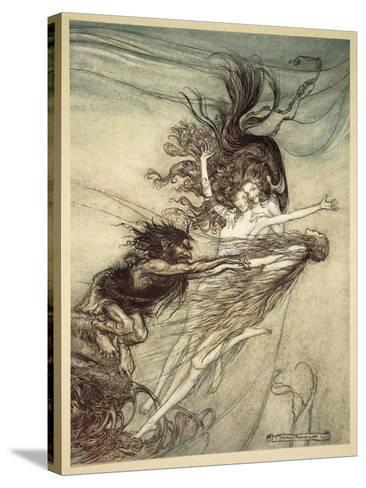 The Rhinemaidens Teasing Alberich, illustration from 'The Rhinegold and the Valkyrie', 1910-Arthur Rackham-Stretched Canvas Print