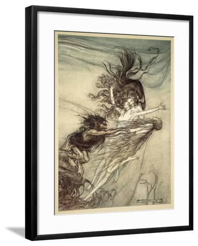 The Rhinemaidens Teasing Alberich, illustration from 'The Rhinegold and the Valkyrie', 1910-Arthur Rackham-Framed Art Print