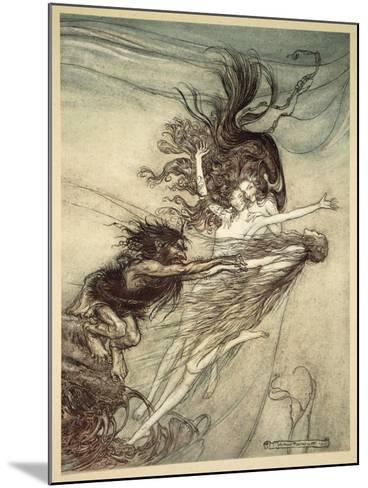 The Rhinemaidens Teasing Alberich, illustration from 'The Rhinegold and the Valkyrie', 1910-Arthur Rackham-Mounted Giclee Print