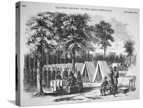 Pennsylvania Soldiers Voting in September, from 'Harper's Weekly', 29th October 1864-Alfred R^ Waud-Stretched Canvas Print