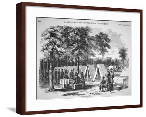 Pennsylvania Soldiers Voting in September, from 'Harper's Weekly', 29th October 1864-Alfred R^ Waud-Framed Art Print