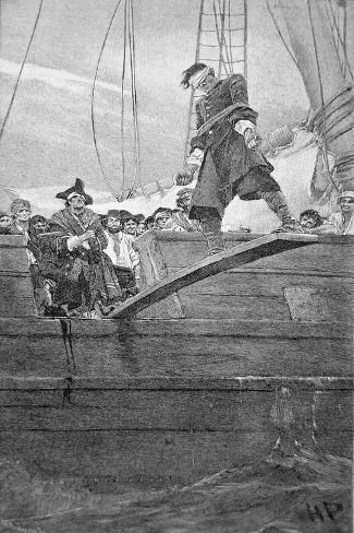 Walking the Plank, engraved by Anderson-Howard Pyle-Stretched Canvas Print