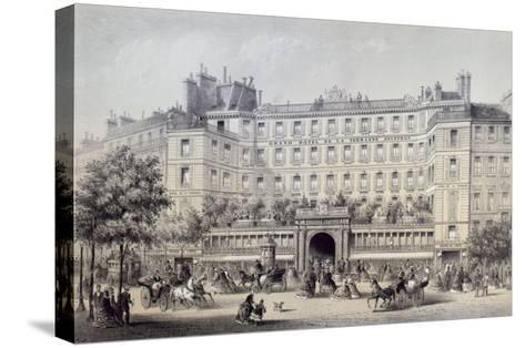 Boulevard Montmartre, Passage Jouffroy and Grand Hotel de la Terrasse Jouffroy, 1865-Charles Riviere-Stretched Canvas Print