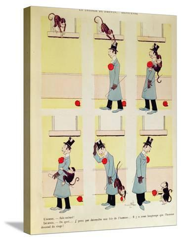 Darwin's Theory in Reverse, the Monkey's Descent from Man, 1901-Benjamin Rabier-Stretched Canvas Print