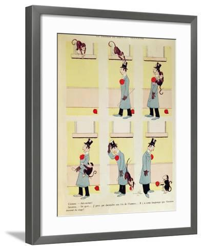 Darwin's Theory in Reverse, the Monkey's Descent from Man, 1901-Benjamin Rabier-Framed Art Print