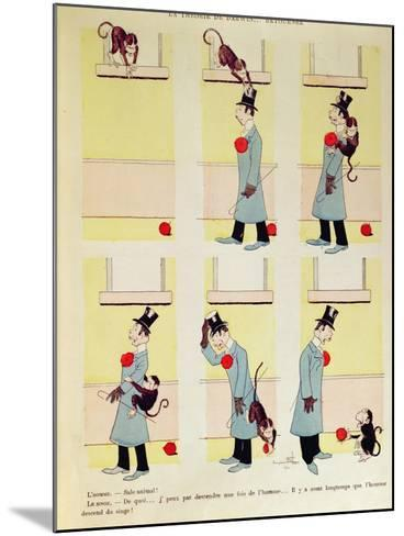 Darwin's Theory in Reverse, the Monkey's Descent from Man, 1901-Benjamin Rabier-Mounted Giclee Print