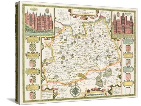 Map of Surrey, engraved by Jodocus Hondius-John Speed-Stretched Canvas Print