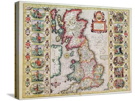 Britain As It Was Devided In The Tyme of the Englishe Saxons especially during their Heptarchy-John Speed-Stretched Canvas Print