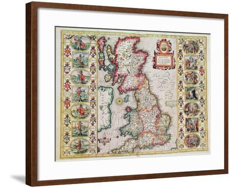 Britain As It Was Devided In The Tyme of the Englishe Saxons especially during their Heptarchy-John Speed-Framed Art Print