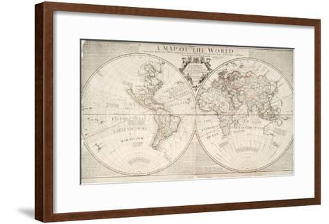 A Map of World, Corrected from the Observations to the Royal Societies of London and Paris-John Senex-Framed Art Print