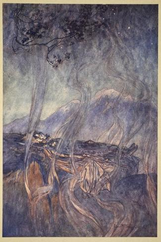 The sleep of Brunnhilde, illustration from 'The Rhinegold and the Valkyrie', 1910-Arthur Rackham-Stretched Canvas Print