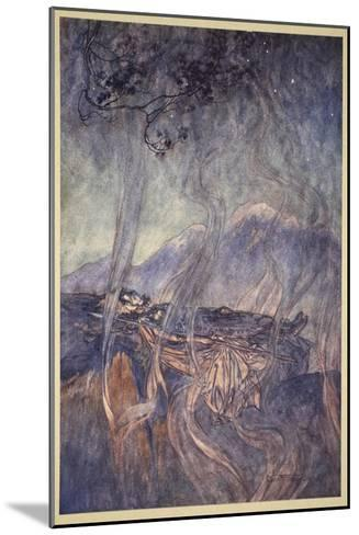 The sleep of Brunnhilde, illustration from 'The Rhinegold and the Valkyrie', 1910-Arthur Rackham-Mounted Giclee Print