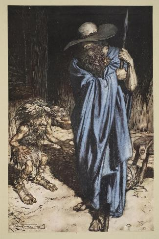 Mime and the Wanderer, from 'Siegfried and The Twilight of the Gods', 1910-Arthur Rackham-Stretched Canvas Print