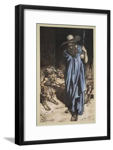 Mime and the Wanderer, from 'Siegfried and The Twilight of the Gods', 1910-Arthur Rackham-Framed Art Print