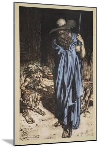 Mime and the Wanderer, from 'Siegfried and The Twilight of the Gods', 1910-Arthur Rackham-Mounted Giclee Print