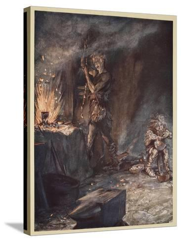 The forging of Nothung, illustration from 'Siegfried and the Twilight of the Gods', 1924-Arthur Rackham-Stretched Canvas Print