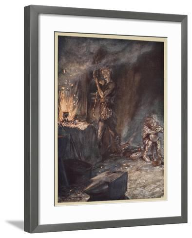 The forging of Nothung, illustration from 'Siegfried and the Twilight of the Gods', 1924-Arthur Rackham-Framed Art Print