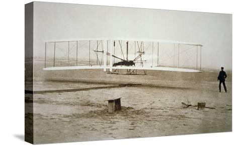 The Wright Brothers Making their First Powered Flight, 17th December, 1903--Stretched Canvas Print