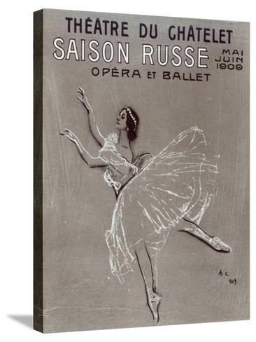 Poster for the 'saison Russe' at the Theatre Du Chatelet, 1909-Valentin Aleksandrovich Serov-Stretched Canvas Print