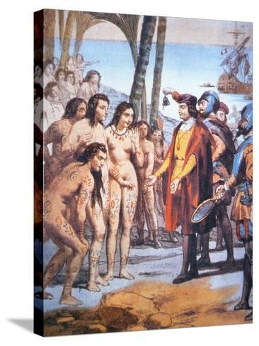 Christopher Columbus Lands in the New World in 1492 and Is Greeted by Taino Indians--Stretched Canvas Print