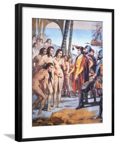 Christopher Columbus Lands in the New World in 1492 and Is Greeted by Taino Indians--Framed Art Print