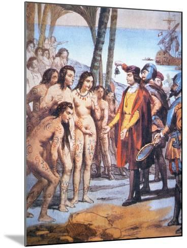 Christopher Columbus Lands in the New World in 1492 and Is Greeted by Taino Indians--Mounted Giclee Print