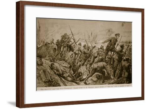 Second Lieutenant G.H. Woolley's Heroic Defence of 'Hill 60' with a Handful of Men-Richard Caton Woodville-Framed Art Print