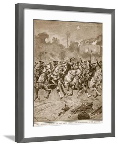 The 'stirrup-Charge' of the Scots Greys and Highlanders at St. Quentin, 1914-19-Richard Caton Woodville-Framed Art Print