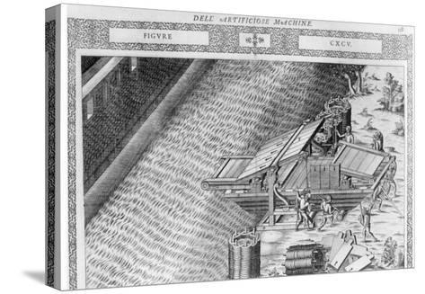 Bridge Made in Shape of Boat, Illustration from 'Diverse Imaginary Machines' by Agostino Ramelli-Agostino Ramelli-Stretched Canvas Print