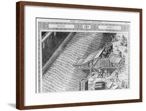 Bridge Made in Shape of Boat, Illustration from 'Diverse Imaginary Machines' by Agostino Ramelli-Agostino Ramelli-Framed Art Print