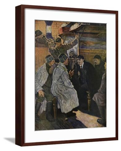 Lenin Returning from Abroad in 1917 on the Train from Finland--Framed Art Print
