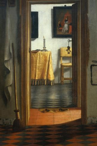 View of an Interior-Samuel van Hoogstraten-Stretched Canvas Print