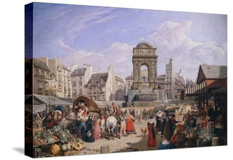 The Market and the Fountain of Innocents, 1822-John James Chalon-Stretched Canvas Print