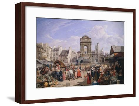 The Market and the Fountain of Innocents, 1822-John James Chalon-Framed Art Print