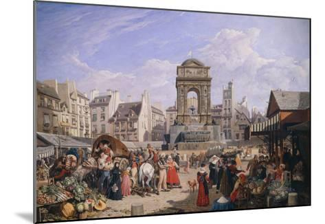 The Market and the Fountain of Innocents, 1822-John James Chalon-Mounted Giclee Print