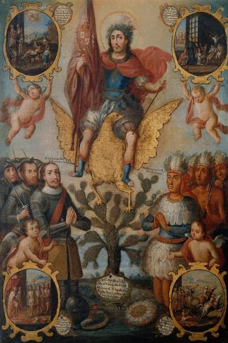 Saint Hippolytus Between Spanish and Aztec Soldiers--Stretched Canvas Print