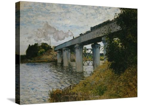 The Railroad Bridge at Argenteuil-Claude Monet-Stretched Canvas Print