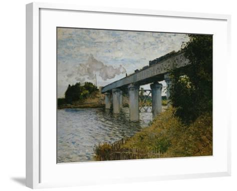 The Railroad Bridge at Argenteuil-Claude Monet-Framed Art Print