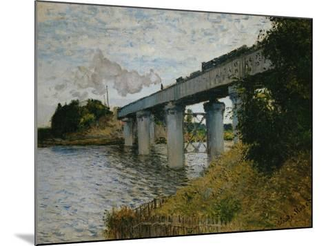 The Railroad Bridge at Argenteuil-Claude Monet-Mounted Giclee Print