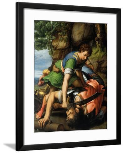 David and Goliath-Michiel Coxie-Framed Art Print